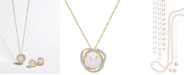 """Honora Cultured Freshwater Pearl (8mm) & Diamond (1/8 ct. t.w.) 18"""" Pendant Necklace in 14k Gold"""
