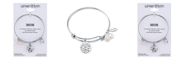 Unwritten Mom Charm and Rose Quartz (8mm) Bangle Bracelet in Stainless Steel with Silver Plated Charms