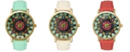 Olivia Pratt Mandala Leather Strap Watch