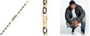 LEGACY for MEN by Simone I. Smith Two-Tone ID Plate Bracelet in Black & Yellow Ion-Plated Stainless Steel