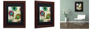 """Trademark Global Color Bakery 'Peacock Feathers Ii' Matted Framed Art, 11"""" x 14"""""""
