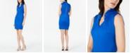 Calvin Klein Petite Ruffled V-Neck Sheath Dress
