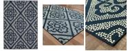 """Oriental Weavers Marina 3804B Navy/Ivory 2'5"""" x 4'5"""" Indoor/Outdoor Area Rug"""