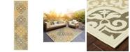"""Oriental Weavers Bali 4904W Ivory/Gray 2'3"""" x 7'6"""" Indoor/Outdoor Runner Area Rug"""