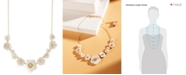 """lonna & lilly Gold-Tone Crystal & Imitation Mother-of-Pearl Flower Statement Necklace, 16"""" + 3"""" extender"""