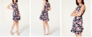 Robbie Bee Petite Ruffled Puffed Floral Print Dress
