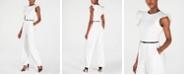 Calvin Klein Ruffle-Sleeve Belted Jumpsuit