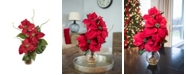 Nearly Natural Poinsettia w/Fluted Vase Silk Flower Arrangement
