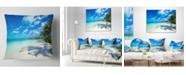 "Design Art Designart 'Tropical Beach With Palm Shadows' Seashore Throw Pillow - 16"" x 16"""