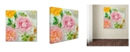 "Trademark Global Cora Niele 'Peonies And Roses Iv' Canvas Art - 14"" x 14"" x 2"""