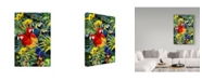 """Trademark Global Howard Robinson 'Parrot Sitting In Flowers' Canvas Art - 24"""" x 16"""" x 2"""""""