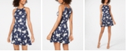 BCX Juniors' Printed Halter-Neck Fit & Flare Dress