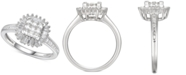 Macy's Cubic Zirconia Square Cluster Baguette Halo Ring n Sterling Silver
