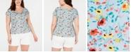 Planet Gold Trendy Plus Size Floral-Print T-Shirt