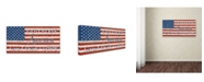 "Trademark Global Jean Plout 'Old Glory On Wood 2' Canvas Art - 24"" x 12"" x 2"""