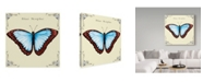 "Trademark Global Sher Sester 'Butterfly Blue Morphe' Canvas Art - 14"" x 14"" x 2"""