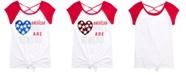 Beautees Big Girls Cross-Back Tie-Front Flip Sequin T-Shirt
