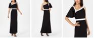 Calvin Klein One-Shoulder Flutter-Sleeve Gown