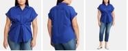 Lauren Ralph Lauren Plus Size Tie-Front Top