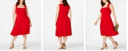 Love Squared Trendy Plus Size Square-Neck Fit & Flare Dress