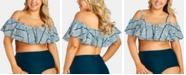 Raisins Curve Trendy Plus Size Juniors' La Fonda Tortuga Flounce Bikini Top