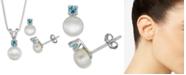 "Macy's Cultured Freshwater Pearl (6-7mm) & Blue Topaz (1/3 ct. t.w.) 18"" Pendant Necklace & Stud Earrings Set in Sterling Silver"