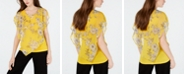 BCX Juniors' Printed Flutter-Sleeve Poncho Top