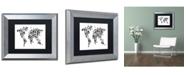 """Trademark Global Michael Tompsett 'Robot Map of the World Black' Matted Framed Art - 11"""" x 14"""""""