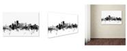 "Trademark Global Michael Tompsett 'Portland Oregon Skyline B&W' Canvas Art - 12"" x 19"""