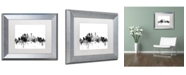 "Trademark Global Michael Tompsett 'Minneapolis MN Skyline B&W' Matted Framed Art - 11"" x 14"""