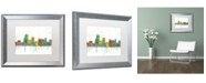 "Trademark Global Marlene Watson 'Parsippany New Jersey Skyline' Matted Framed Art - 16"" x 20"""