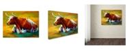 "Trademark Global Marion Rose 'Longhorn Cow' Canvas Art - 14"" x 19"""