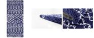 """Bridgeport Home Fazil Shag Faz2 Navy Blue 2' 7"""" x 6' Runner Area Rug"""