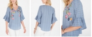 Style & Co Embroidered Flutter-Sleeve Top, Created for Macy's