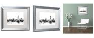 """Trademark Global Michael Tompsett 'Hong Kong Skyline B&W' Matted Framed Art - 16"""" x 20"""""""