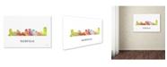 "Trademark Global Marlene Watson 'Norfolk Virginia Skyline WB-1' Canvas Art - 16"" x 24"""