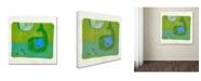 "Trademark Global Wyanne 'Green Whale Monoprint' Canvas Art - 18"" x 18"""