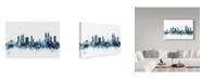 "Trademark Global Michael Tompsett 'Mumbai Blue Teal Skyline' Canvas Art - 19"" x 12"""