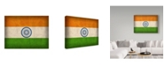 "Trademark Global Red Atlas Designs 'India Distressed Flag' Canvas Art - 19"" x 14"""