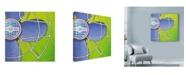"""Trademark Global Larry Hunter 'Bel Aire Fan Green' Canvas Art - 14"""" x 14"""""""