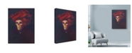 """Trademark Global Marie Marfia Fine Art 'Skelly In The Red Turban' Canvas Art - 24"""" x 32"""""""