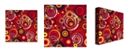 """Trademark Global Raindrops on Red' Canvas Art - 18"""" x 18"""""""