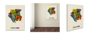 "Trademark Global Michael Tompsett 'Suriname Watercolor Map' Canvas Art - 18"" x 24"""