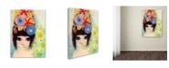 "Trademark Global Wyanne 'Big Eyed Girl Raining Flowers' Canvas Art - 24"" x 32"""