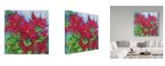 """Trademark Global Joanne Porter 'Red Oak Leaf Poinsettias' Canvas Art - 35"""" x 35"""""""