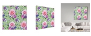 """Trademark Global Maria Rytova 'Pattern With Roses And Hellebore' Canvas Art - 24"""" x 24"""""""