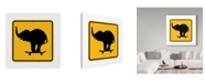 "Trademark Global J Hovenstine Studios 'Elephant On Skateboard Crossing Sign' Canvas Art - 35"" x 35"""