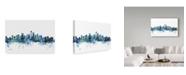 "Trademark Global Michael Tompsett 'Seattle Washington Blue Teal Skyline' Canvas Art - 32"" x 22"""