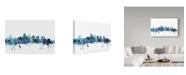 "Trademark Global Michael Tompsett 'Boston Massachusetts Blue Teal Skyline' Canvas Art - 24"" x 16"""