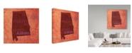 "Trademark Global Red Atlas Designs 'Alabama State Words' Canvas Art - 35"" x 35"""